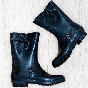 NWOT! Black Buckle Rain Boots
